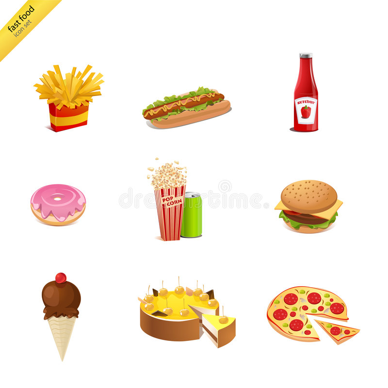 Fast food. 9 fast food colorfull icons