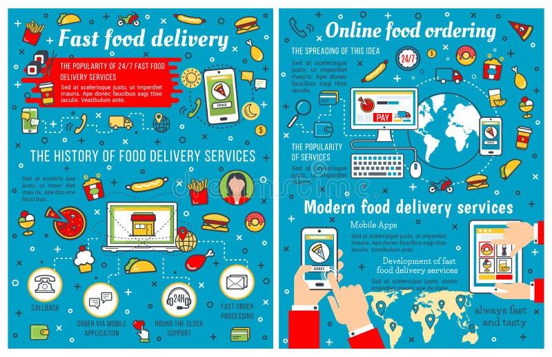 Fast food afastado e entrega infographic ilustração do vetor
