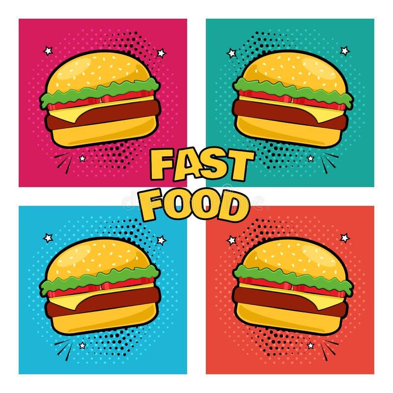 Fast food Ajuste dos ícones do cheeseburger Ilustra??o do vetor ilustração do vetor