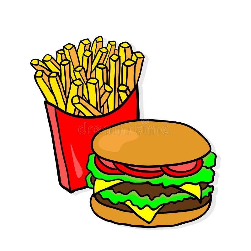 Fast food Almoço com fritadas e hamburguer ilustração do vetor
