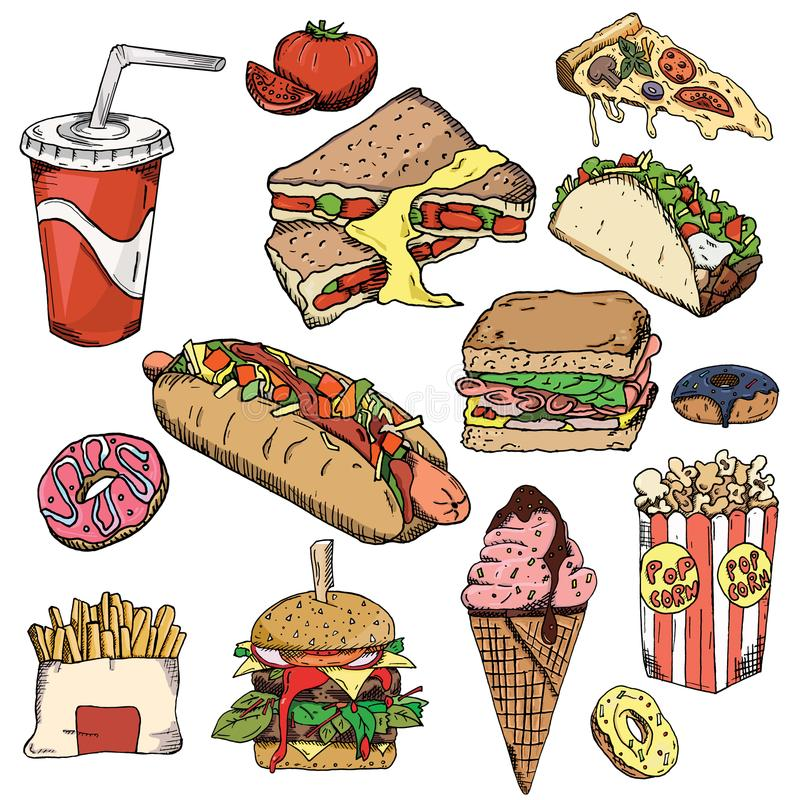 Download Fast Food Background Snack Collection Junk Food Vector Il Ration Wallpaper