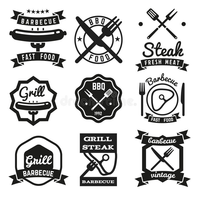 Fast food, BBQ, barbecue vintage vector emblems stock illustration