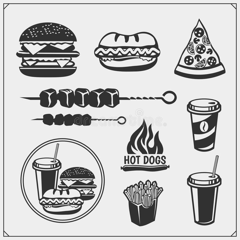 Fast food and BBQ grill labels, emblems and design elements. Burgers, pizza, hot dog and fries. vector illustration