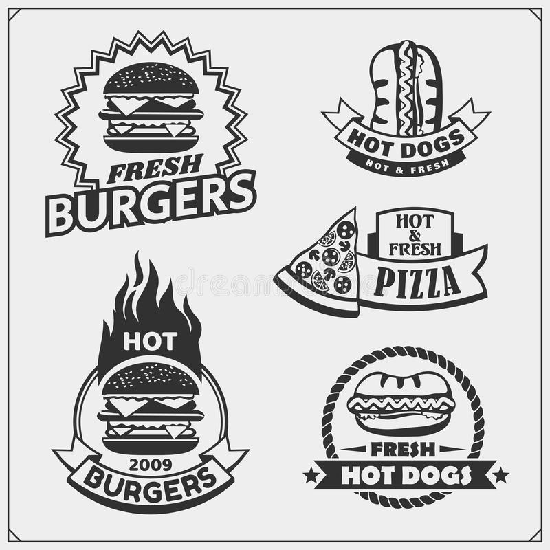 Fast food and BBQ grill labels, emblems and design elements. Burgers, pizza, hot dog. Vector vector illustration