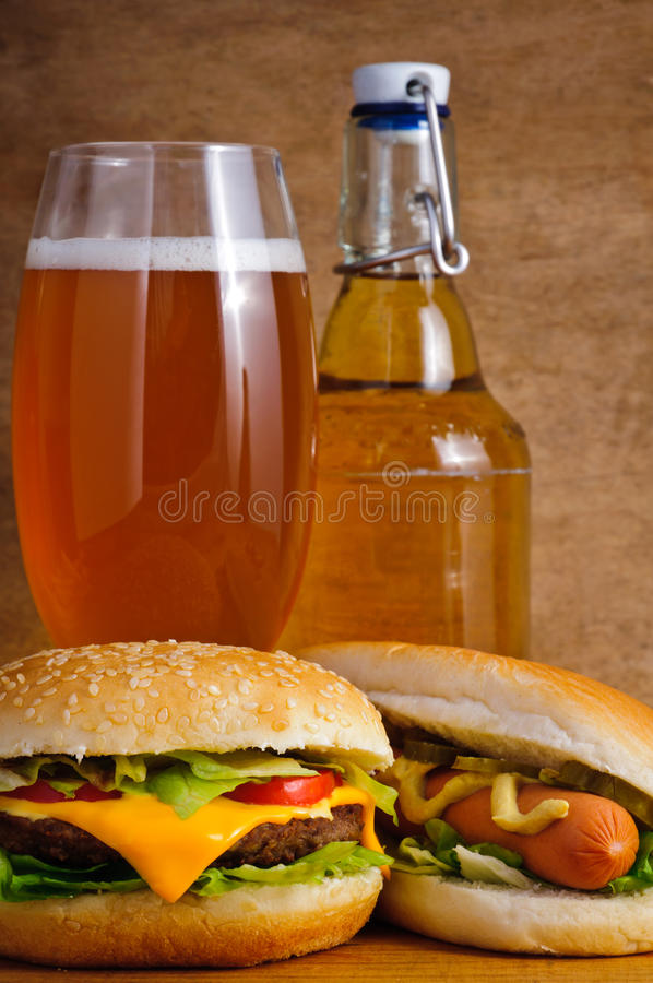 Download Fast food and beer stock image. Image of lunch, cheeseburger - 21222049