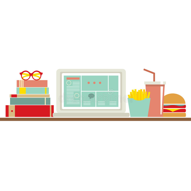 Free Fast Food Beside Laptop For Worker Stock Photography - 45904712