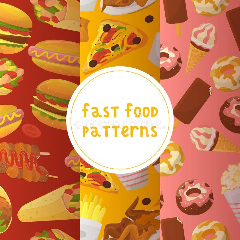 Fast food bezszwowa deseniowa wektorowa ilustracja target1200_1_ jeść Szybki sposób mieć posiłek Pizza, taco, napój, soda, francu royalty ilustracja