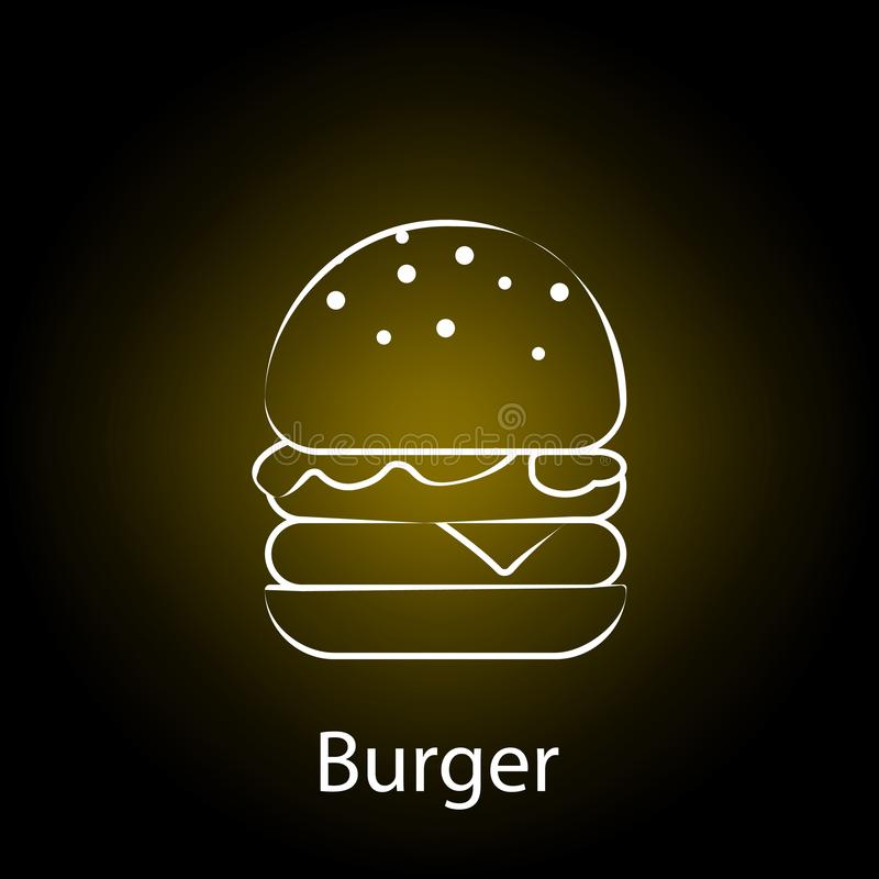 fast food burger line neon icon. Element of food illustration icon. Signs and symbols can be used for web, logo, mobile app, UI, royalty free illustration