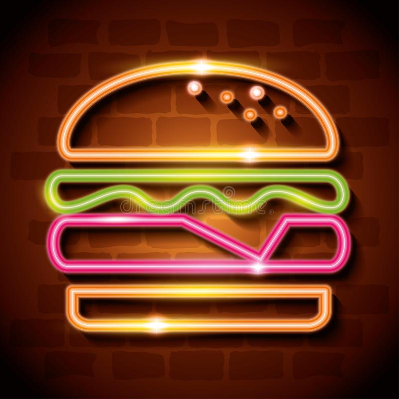 Fast food burger neon label vector illustration