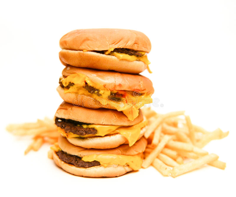 Fast food burgers and french fries isolated royalty free stock photos