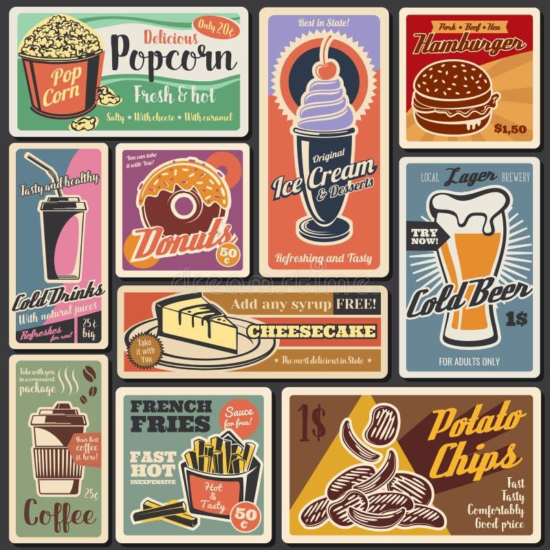 Fast food burgers, hot dogs, desserts retro menu royalty free illustration