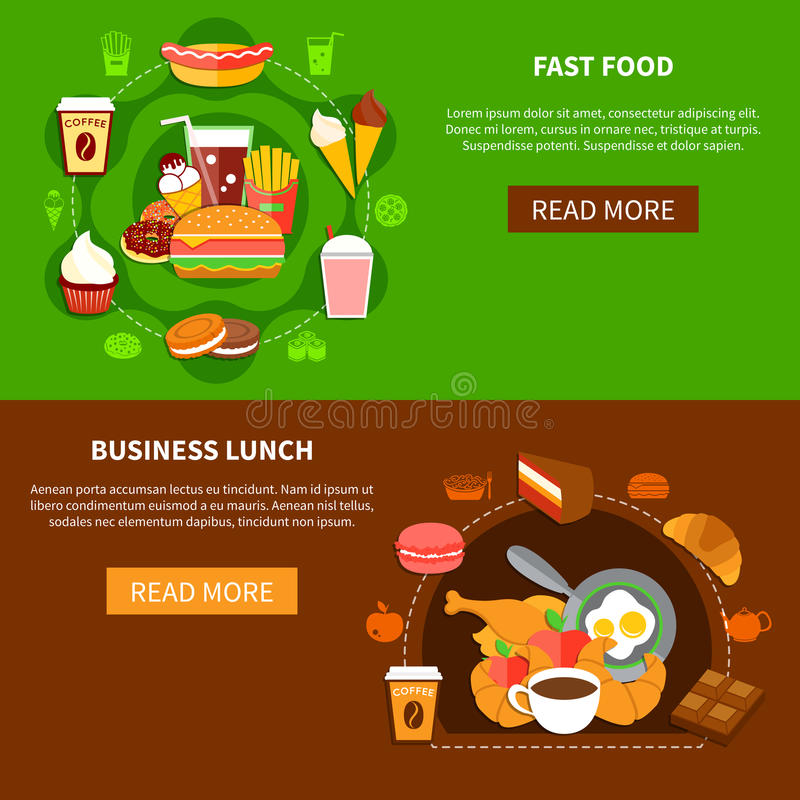 Free Fast Food Business Lunch Flat Banners Royalty Free Stock Image - 84590096