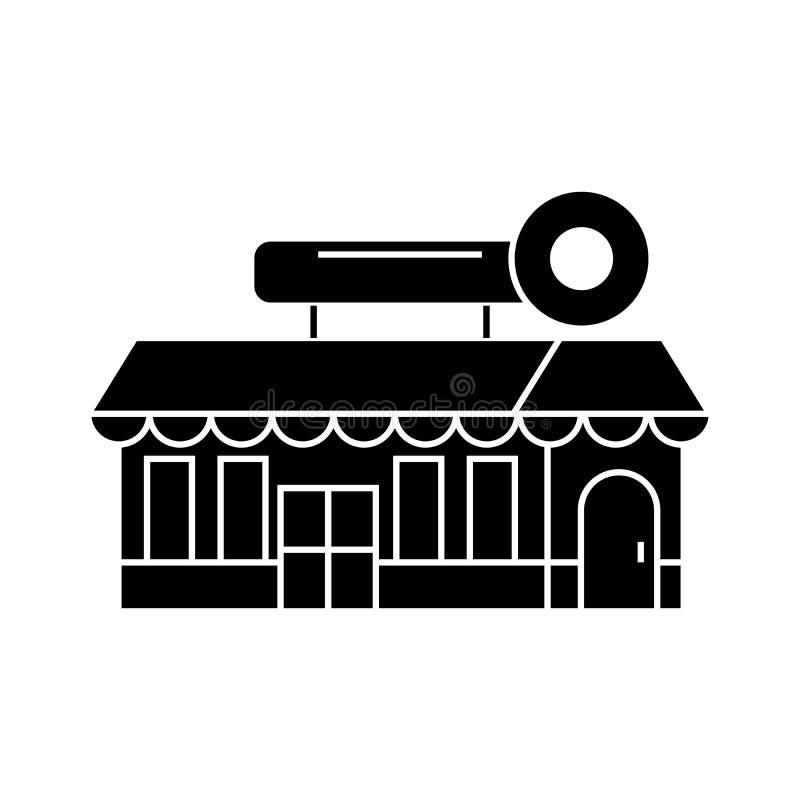 Fast food cafe building black icon concept. Fast food cafe building vector sign, symbol, illustration. vector illustration