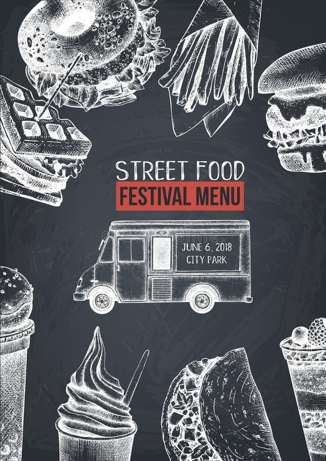 Fast food restaurant flyer for cafe or restaurant design. Engraved style booklet template. Street food festival menu. Vector iilus. Tration royalty free illustration