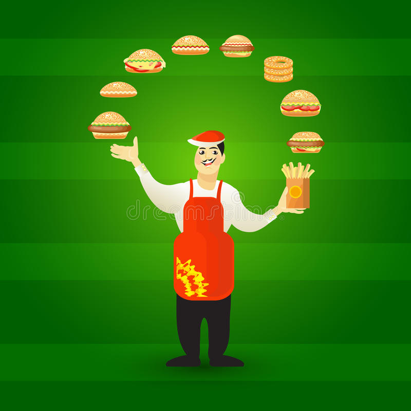 Fast food card with young cook seller and hamburgers. Vector illustration of young cook seller and hamburgers on green background. Fast food card vector illustration