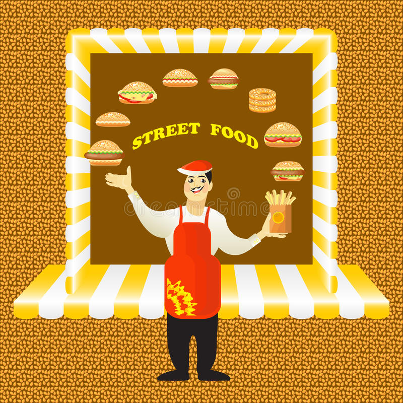 Fast food card with young cook seller and hamburgers. Vector illustration of young cook seller and hamburgers on green background. Fast food card stock illustration