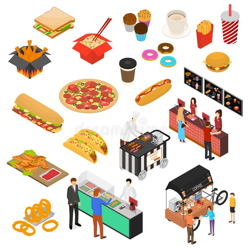 Fast Food Cart Cafe Sign 3d Icon Set Isometric View. Vector stock illustration