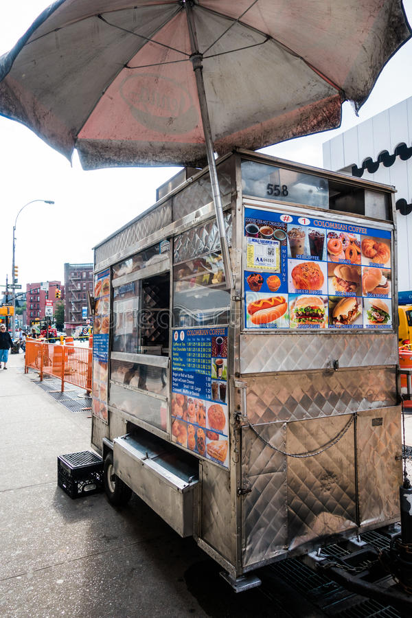 Fast Food Cart in Greenwich Village, New York City. royalty free stock photography