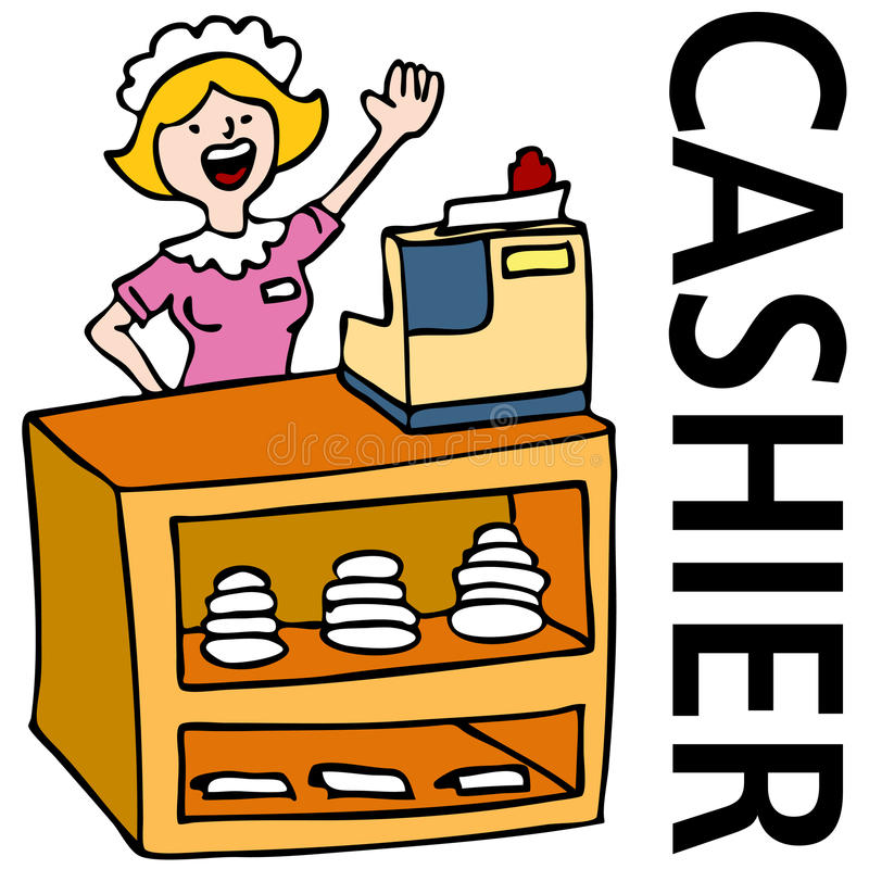 Cashier Cartoons: Fast Food Cashier Worker Stock Vector. Image Of Graphic