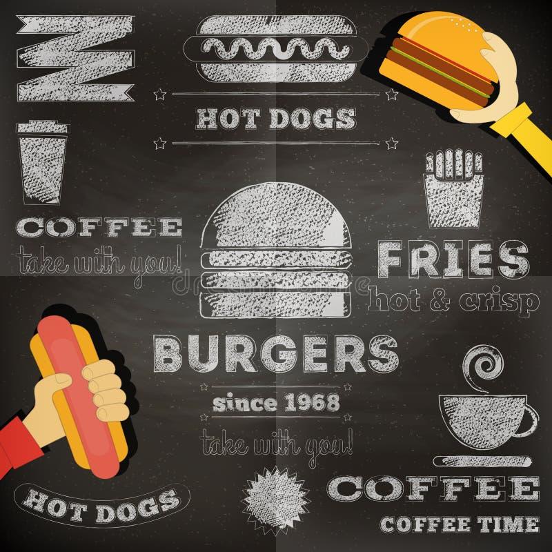 Fast food chalkboard stock illustration