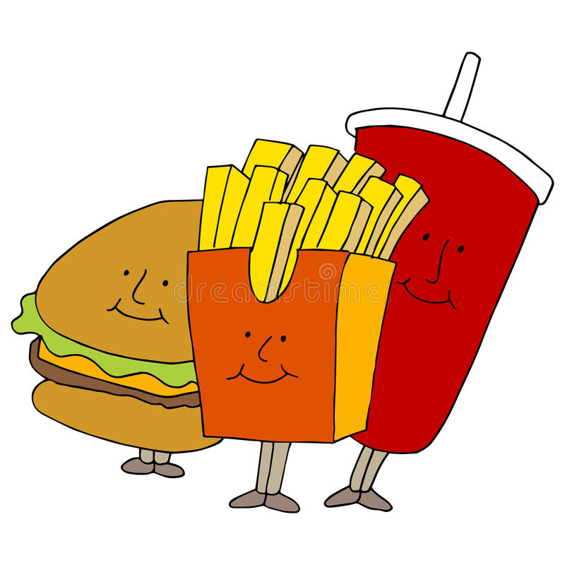 Fast Food Characters stock illustration