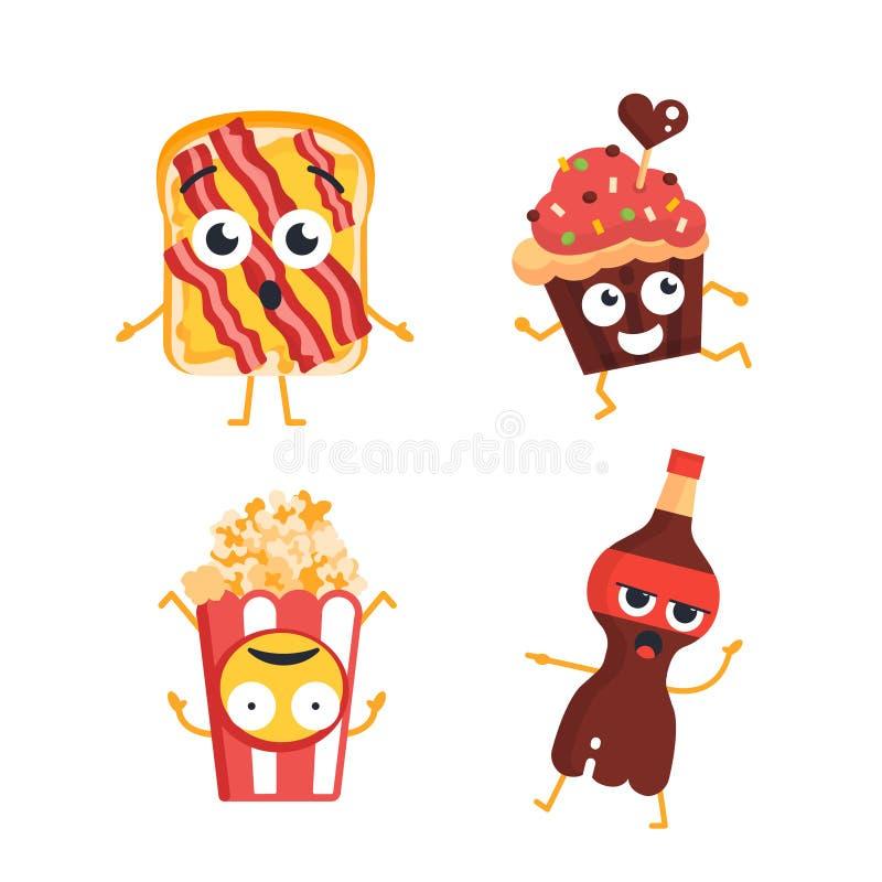 Fast Food Characters - vector set of mascot illustrations. stock illustration