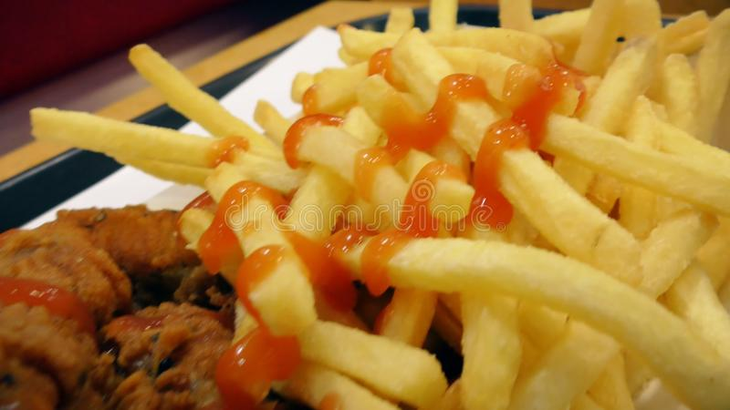 Fast Food Chicken Wings And Fried Fries Stock Video Video Of