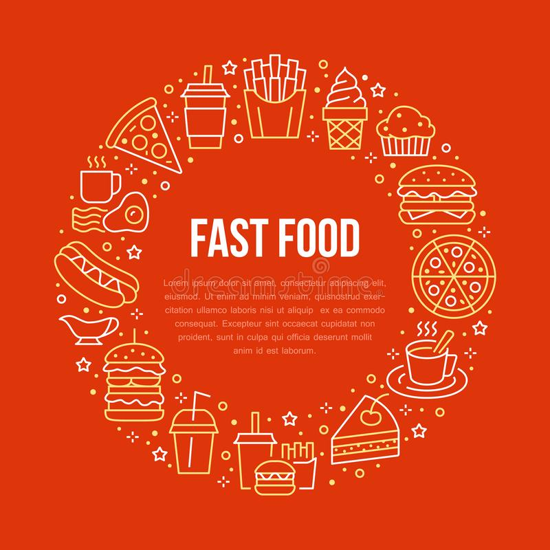 Fast food circle illustration with flat line icons. Thin vector signs for restaurant menu poster - burger, french fries vector illustration