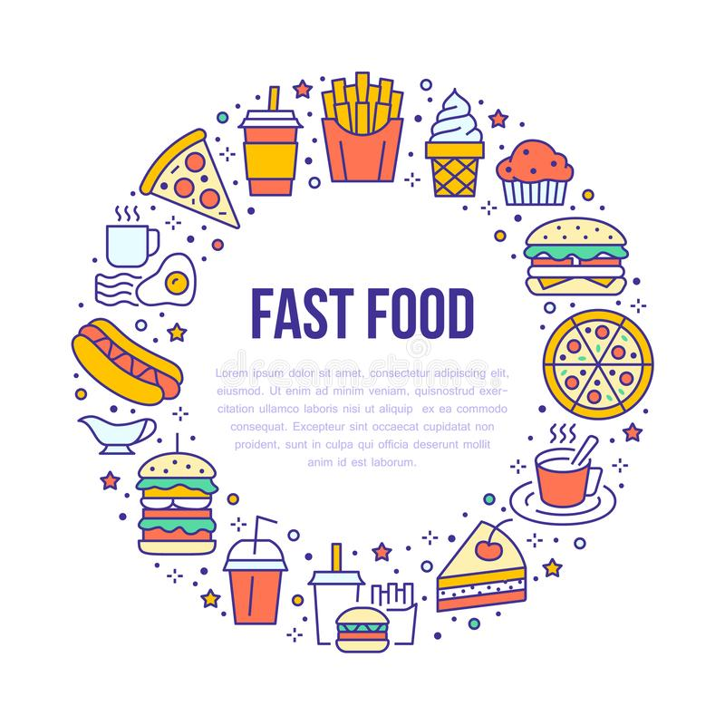 Fast food circle illustration with flat line icons. Thin vector signs for restaurant menu poster - burger, french fries royalty free illustration