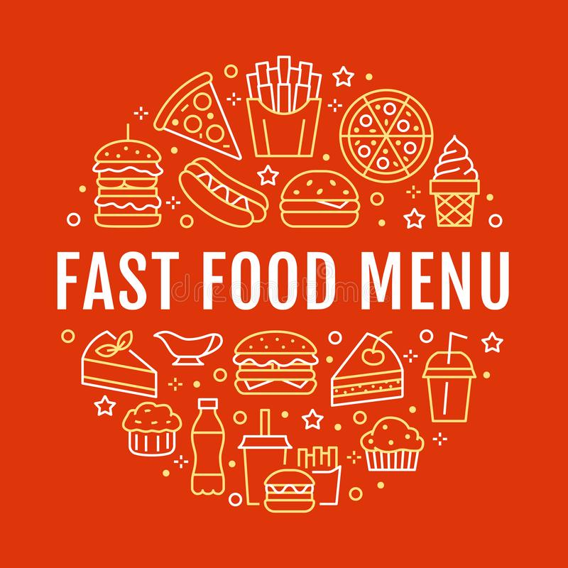Fast food circle illustration with flat line icons. Thin vector signs for restaurant menu poster - burger, pizza, hot vector illustration