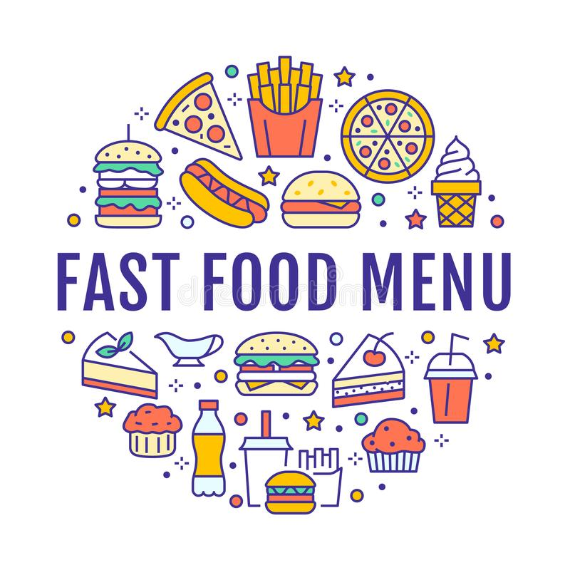 Fast food circle illustration with flat line icons. Thin vector signs for restaurant menu poster - burger, pizza, hot royalty free illustration