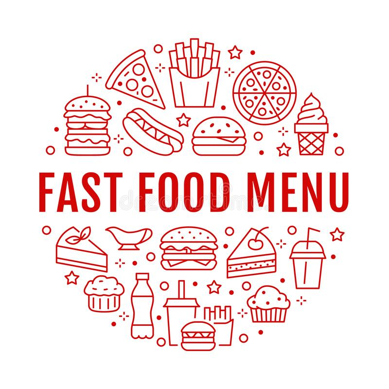 Fast food circle illustration with flat line icons. Thin vector signs for restaurant menu poster - burger, pizza, hot stock illustration