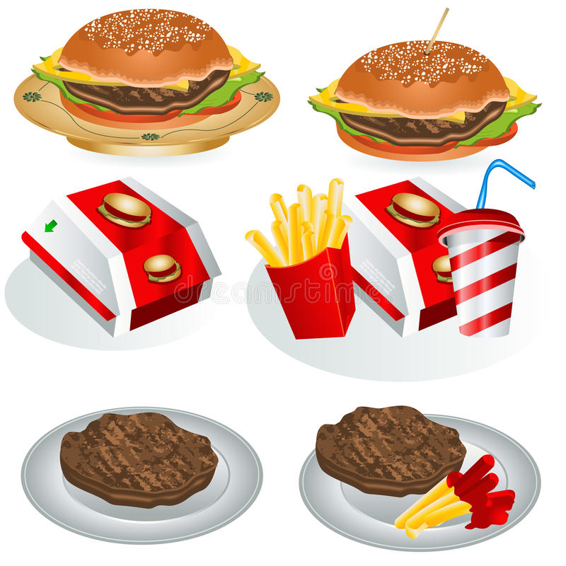 Fast food collection 1 royalty free illustration