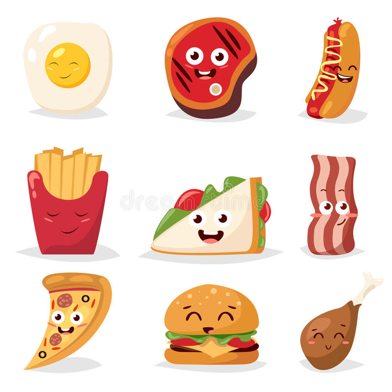 Fast food colorful emoticon face flat design icons set vector illustration