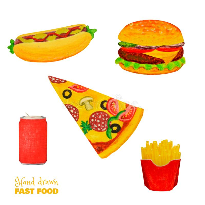 Fast food colorful set. Ready meal isolated on white. Hamburger, sandwich, slice of pizza, french fries, drink. vector illustration