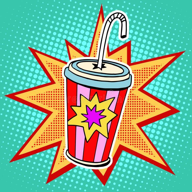 Fast food da palha do copo de papel da cola ilustração stock