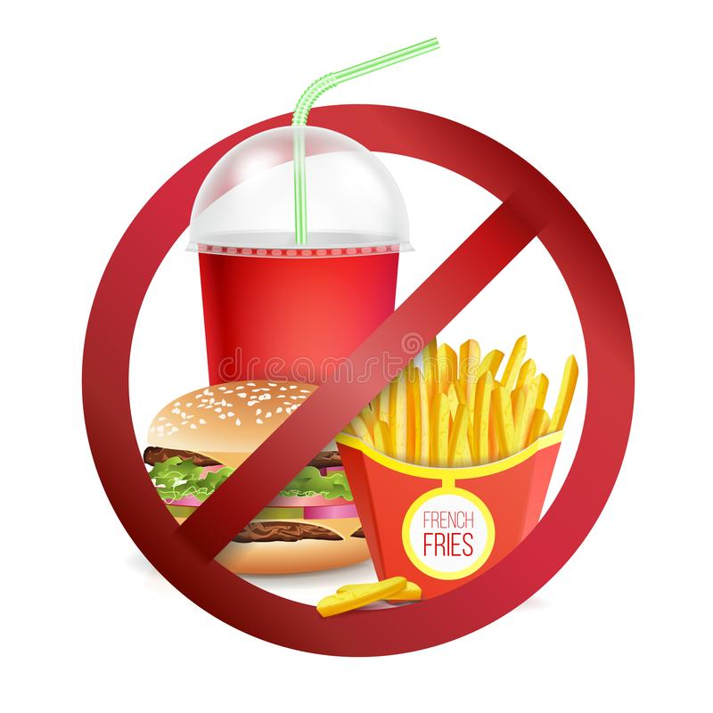 Free Fast Food Danger Label Vector. No Food Or Drinks Allowed Sign. Royalty Free Stock Images - 102562939