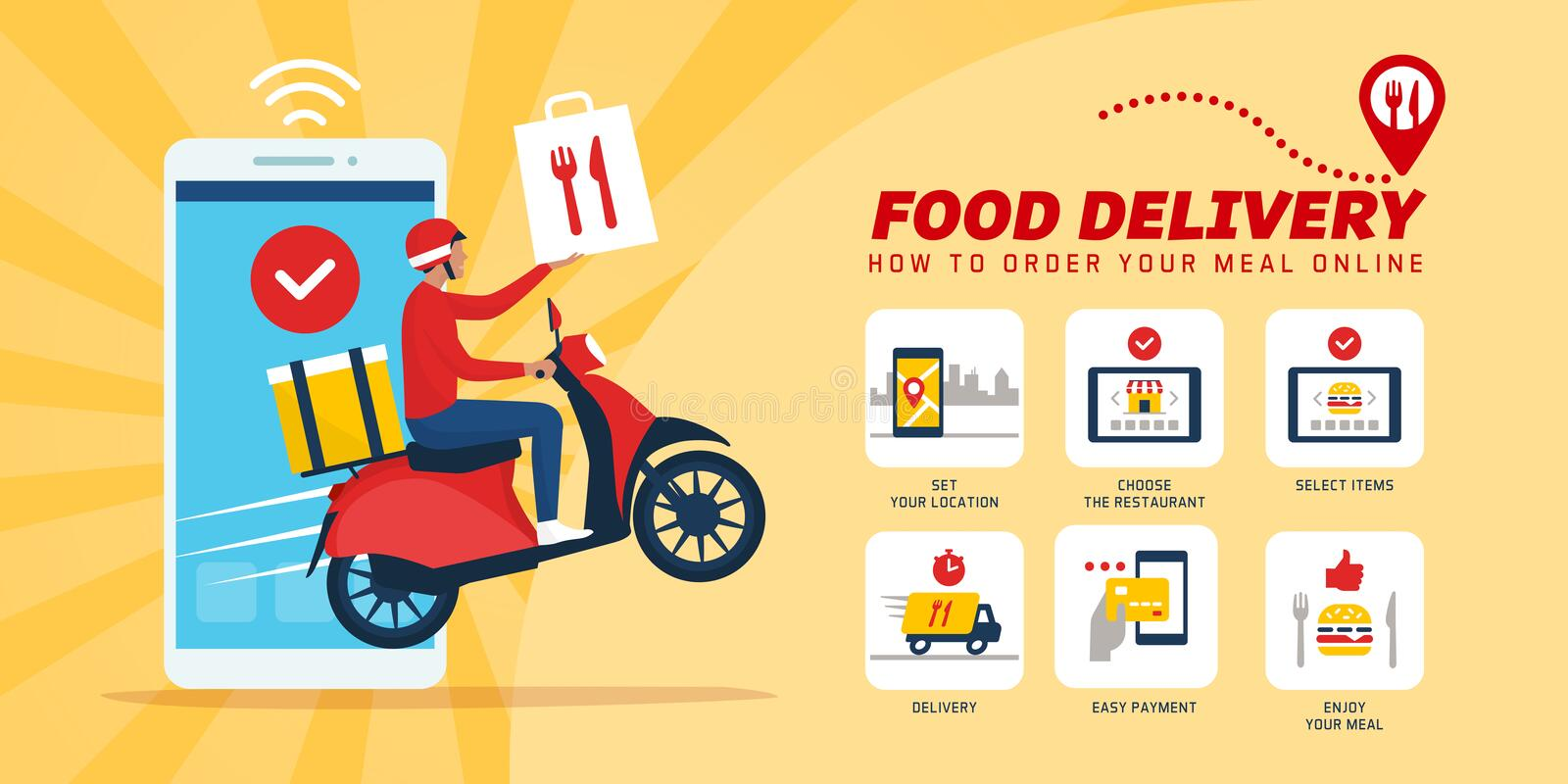 Fast food delivery app on a smartphone vector illustration