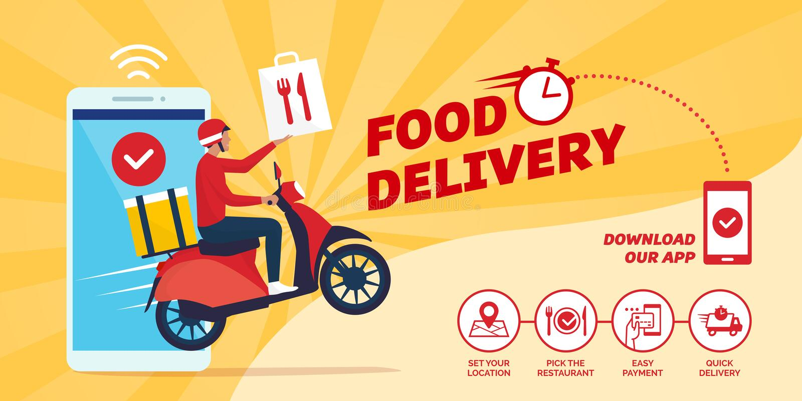 Fast food delivery app on a smartphone royalty free illustration