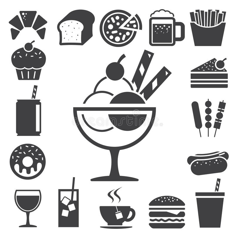 Fast food and dessert icon set. royalty free illustration