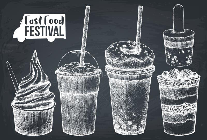 Street food festival menu. Vintage sketch collection. Fast food set. Vector desserts drawing, milkshake, cocktail, ice cream, frui. Ts salad ans yogurt ice vector illustration