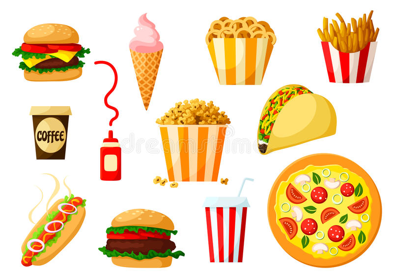 Fast food dishes with drink and dessert icon set. Fast food dishes with drinks and dessert icon set. Hamburger, pizza, hot dog, taco, cheeseburger, coffee and vector illustration