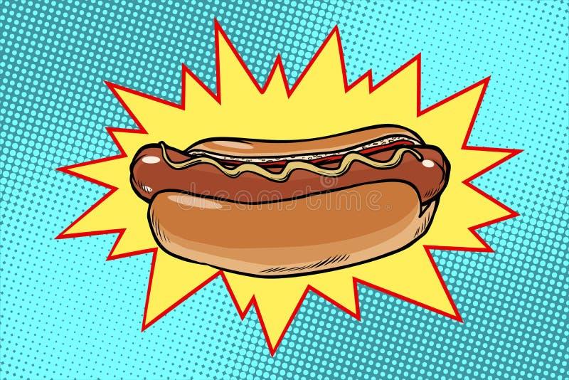 Fast food do cachorro quente do pop art ilustração royalty free