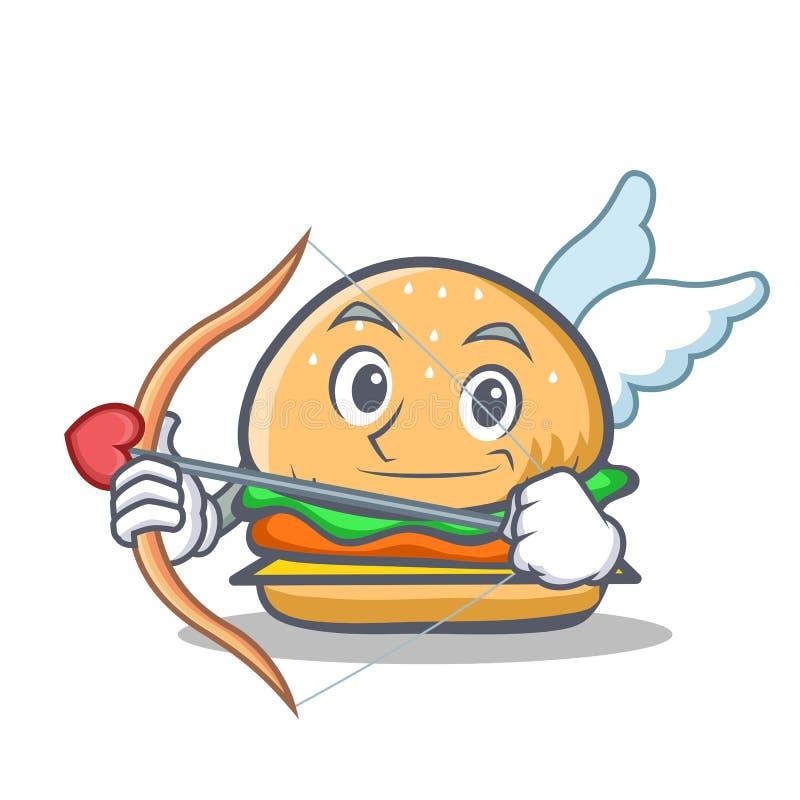 Fast food do caráter do hamburguer do cupido ilustração royalty free