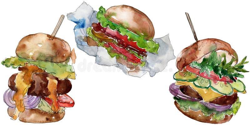 Fast food do Hamburger isolado Grupo da ilustra??o do fundo da aquarela Elemento isolado da ilustração do fastfood ilustração stock