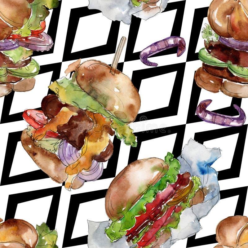 Fast food do Hamburger isolado Grupo da ilustra??o do fundo da aquarela Teste padrão à terra traseiro sem emenda ilustração royalty free