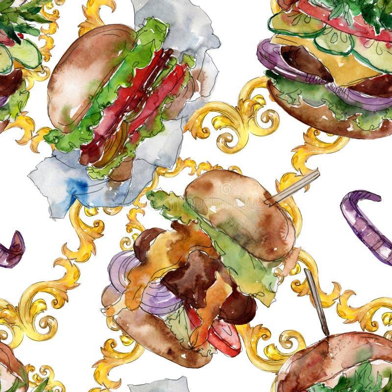 Fast food do Hamburger isolado Grupo da ilustra??o do fundo da aquarela Teste padrão à terra traseiro sem emenda ilustração stock