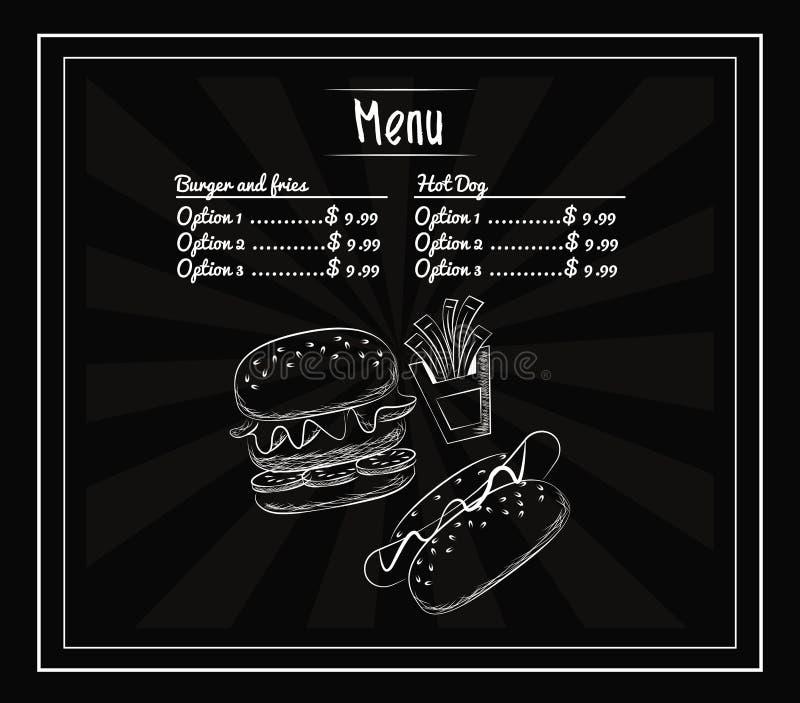 Fast food do menu ilustração do vetor