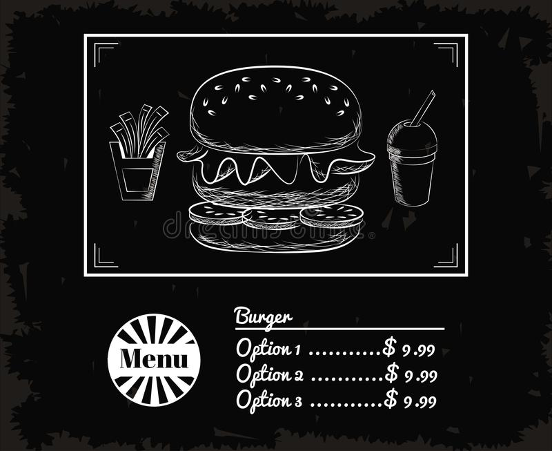 Fast food do menu ilustração royalty free