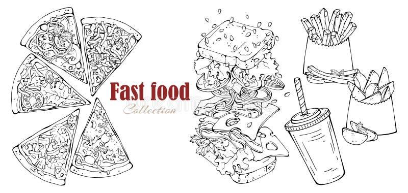 Fast food do vetor: sanduíche, batatas do país, pizza, bebida ilustração stock